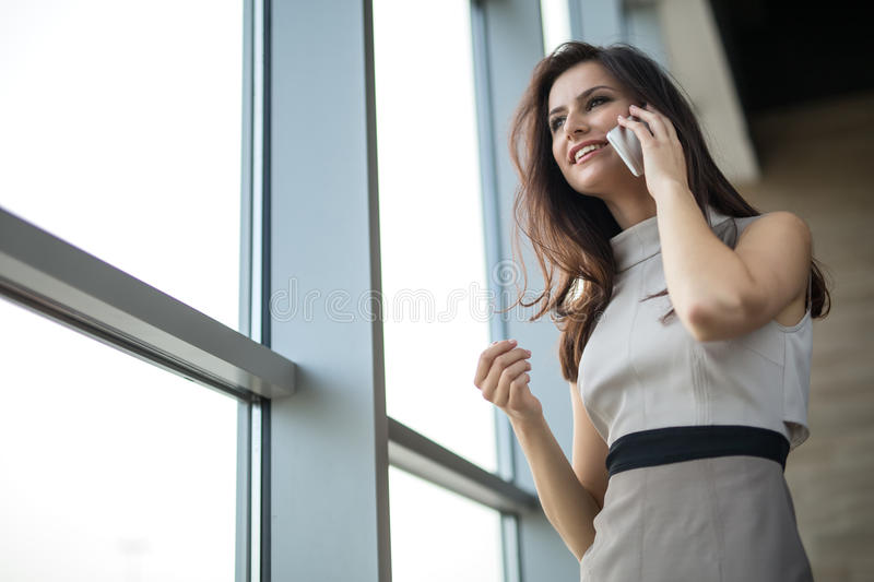 Girl in a bright dress stock photos