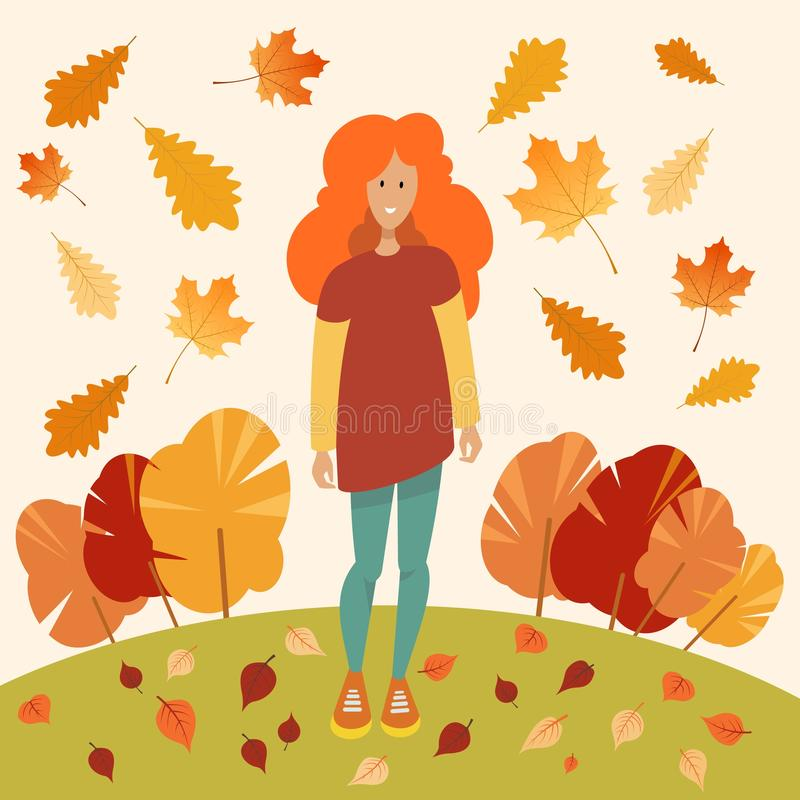 Girl with bright red hair stock illustration