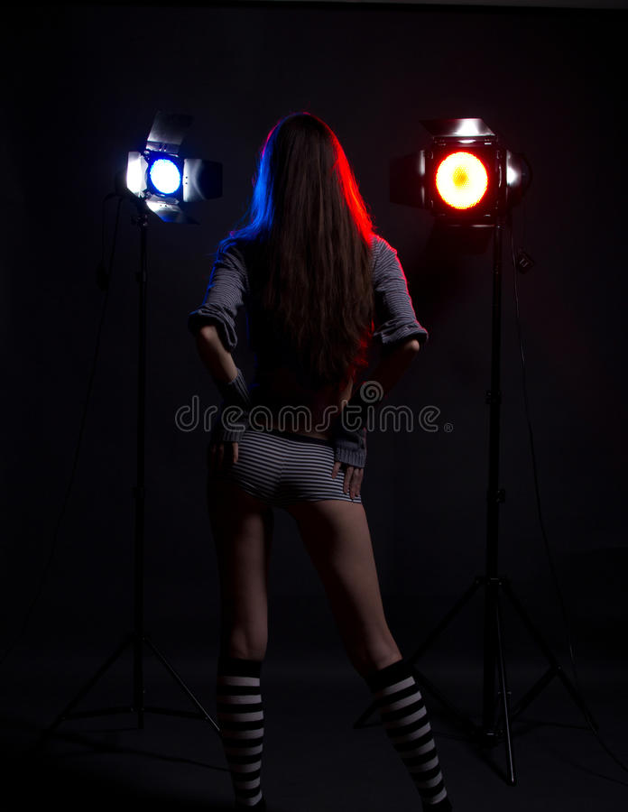 Download Girl With Bright Studio Flashes Stock Photo - Image: 19922826
