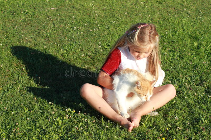 Download Girl With Broken Hand And Cat Stock Photo - Image: 20359514