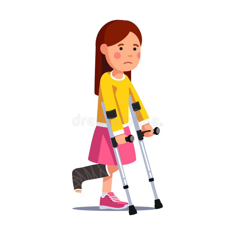 Girl with broken leg bandage walking with crutches. Temporarily disabled sad teenage girl with broken leg bandage cast walking using crutches. Unhappy depressed stock illustration