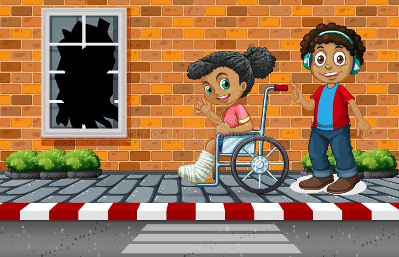 Girl with broken leg vector illustration