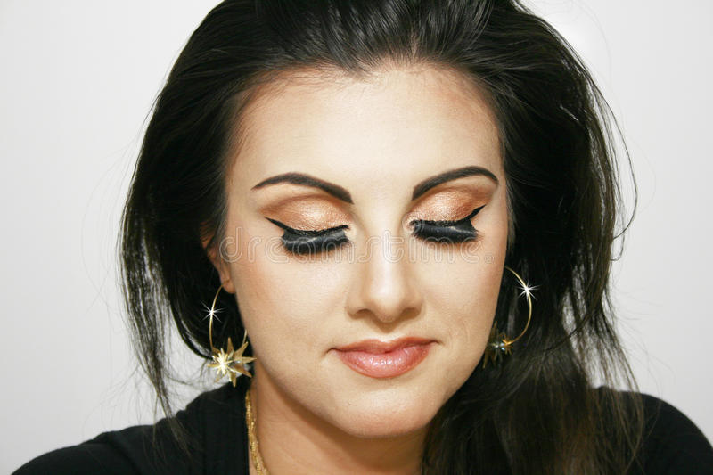 Girl with brown eye makeup,Beauty girl, royalty free stock photography