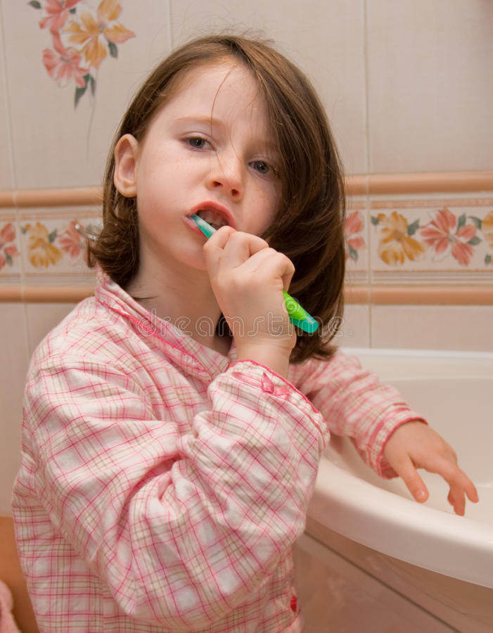 Download Girl Brushes Teeth Stock Image - Image: 12092471