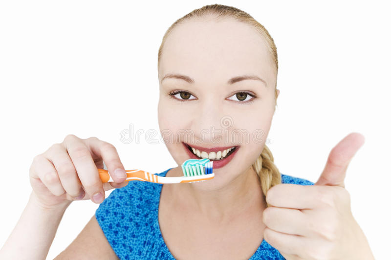 Girl Brushing Teeth Royalty Free Stock Photos