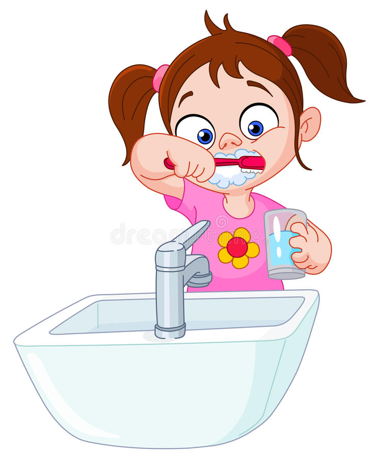 Girl brushing teeth stock illustration