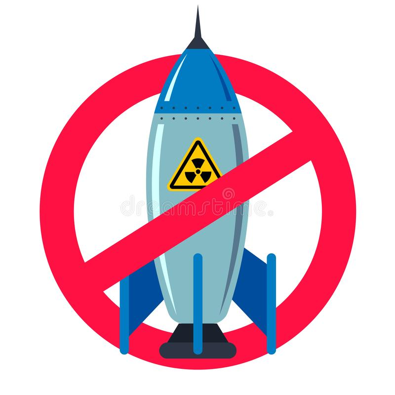 Ban nuclear weapons. forbidden red sign. royalty free illustration