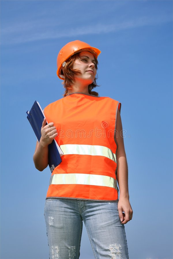 Girl the builder stock photography