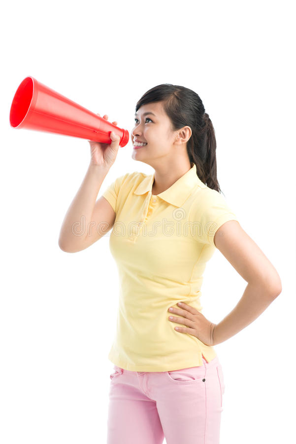 Girl with bullhorn royalty free stock photography