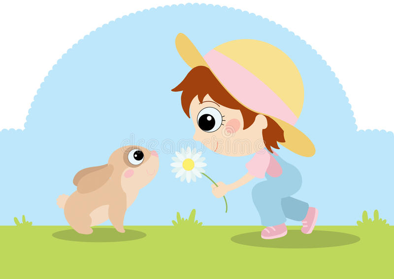 Girl With Bunny Stock Photography
