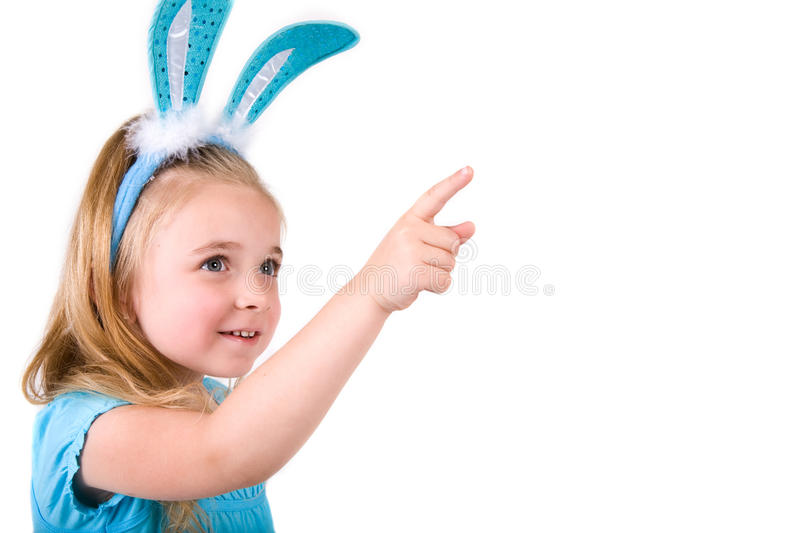 Download Girl with Bunny ears stock image. Image of blue, isolated - 16900797