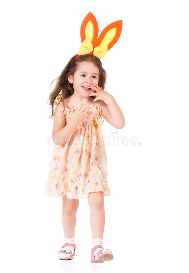 Girl with bunny ears royalty free stock images