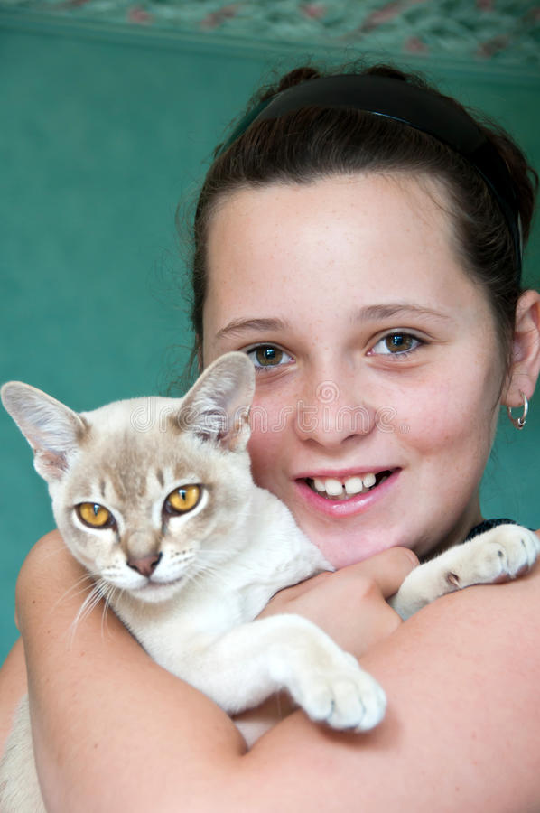 Girl with burmese cat. Young girl cuddling her pet burmese cat royalty free stock photography