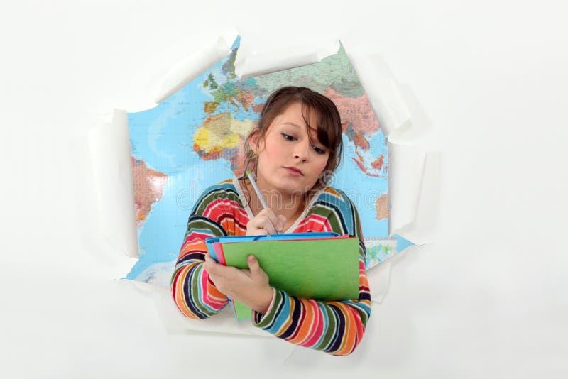 Download Girl Bursting Through Background Stock Illustration - Image: 27810697