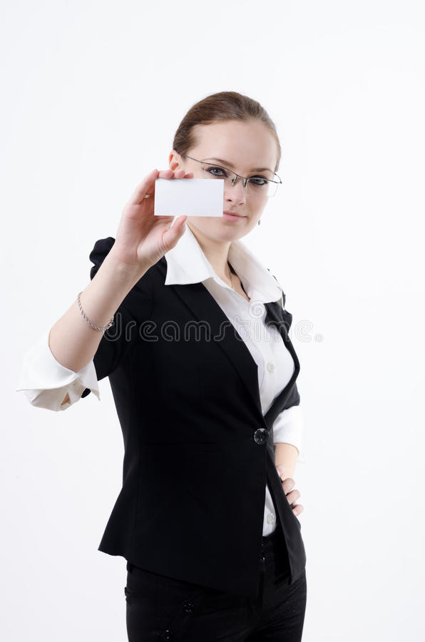 Girl with a business card royalty free stock image