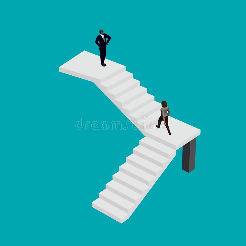 Girl in a business suit climbs the stairs to the head. Isometric. Vector illustration royalty free illustration