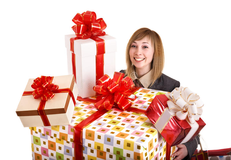 Download Girl In Business Suit With Group Of Gift Box. Stock Image - Image: 12094253