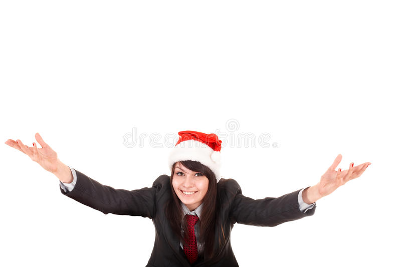 Download Girl In Business Suit, Santa Hat With Arms Raised. Stock Photo - Image of beauty, girl: 11780626