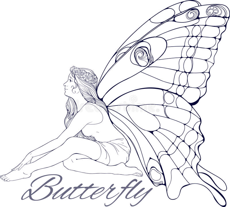 Girl with buterfly wings stock illustration