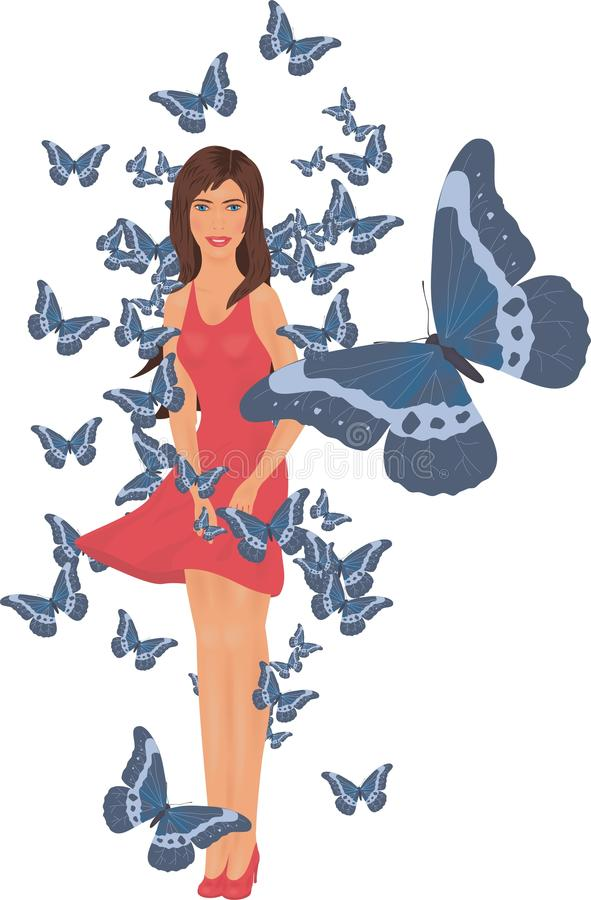 Girl and butterflies royalty free stock photography