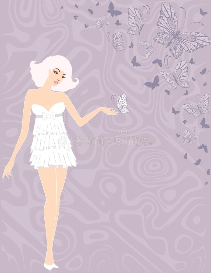 Girl with butterflies royalty free illustration