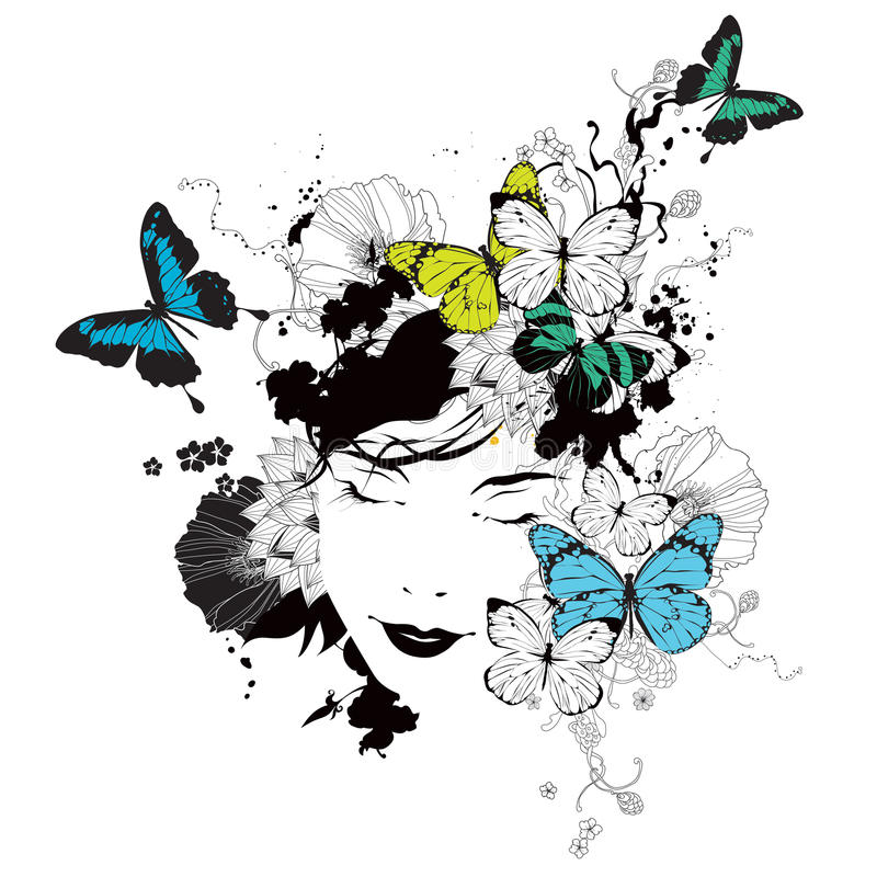 Girl with butterflies and flowers vector illustration