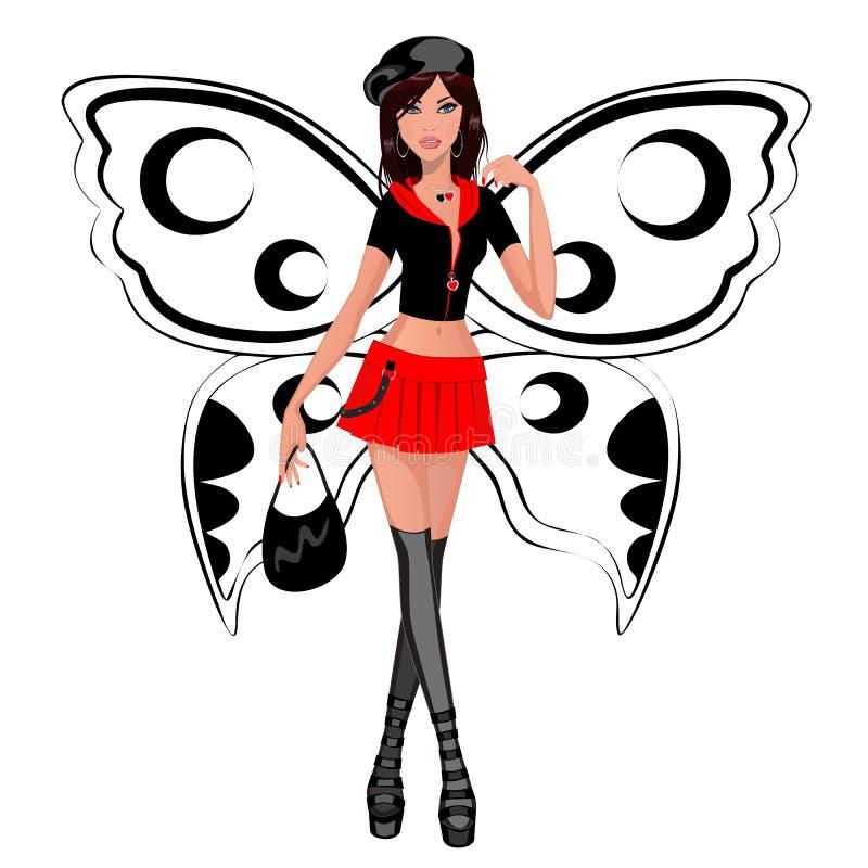 Girl butterfly stock illustration