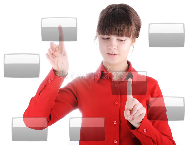 Girl with buttons. The Girl with digital buttons royalty free stock photos