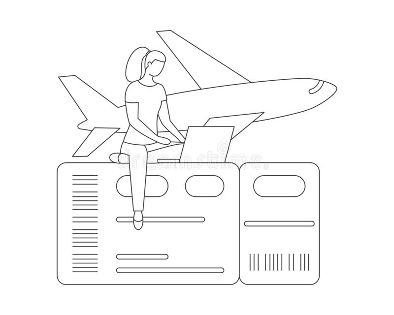 Travel airplane online buy air ticket line vector royalty free illustration