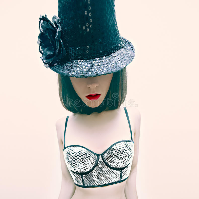 Girl in cabaret style fashion royalty free stock photography