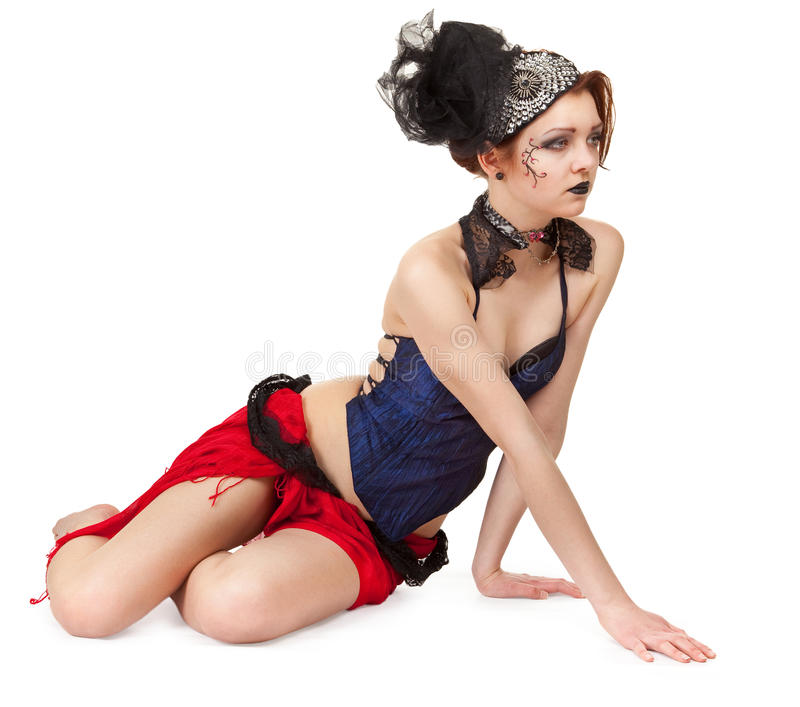 Girl in a cabaret style on a white royalty free stock photography
