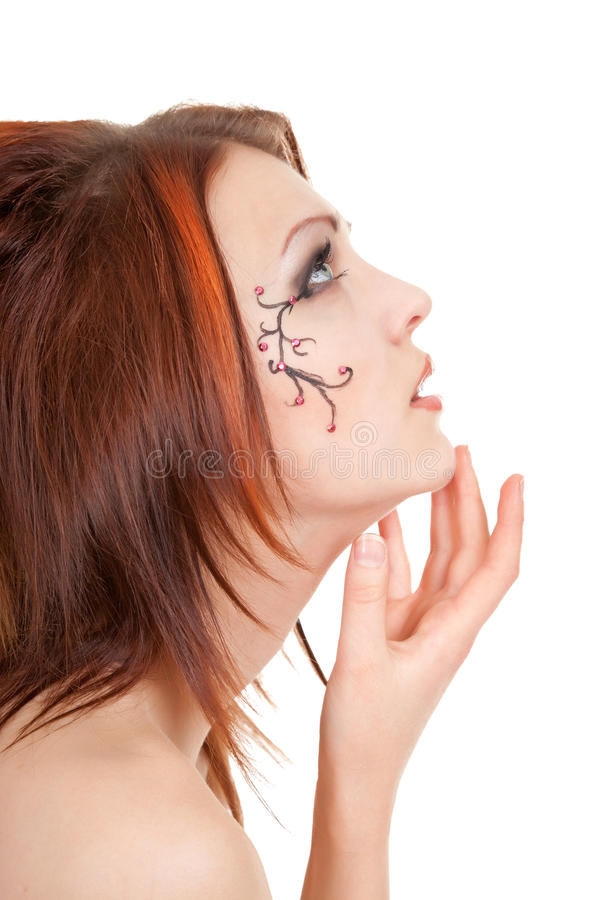 Girl in a cabaret style on a white stock images