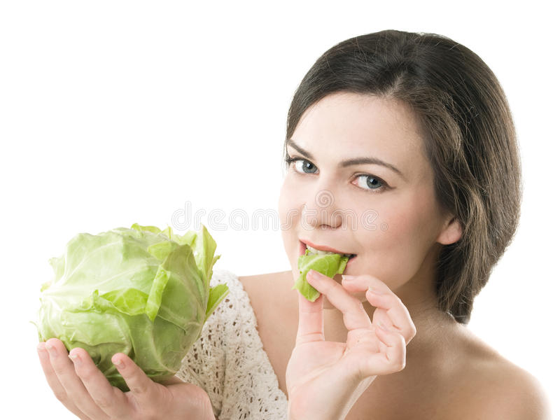 Girl with cabbage royalty free stock photo
