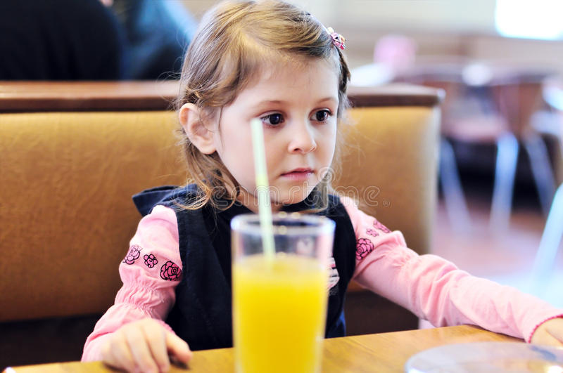 Girl in cafe royalty free stock photos