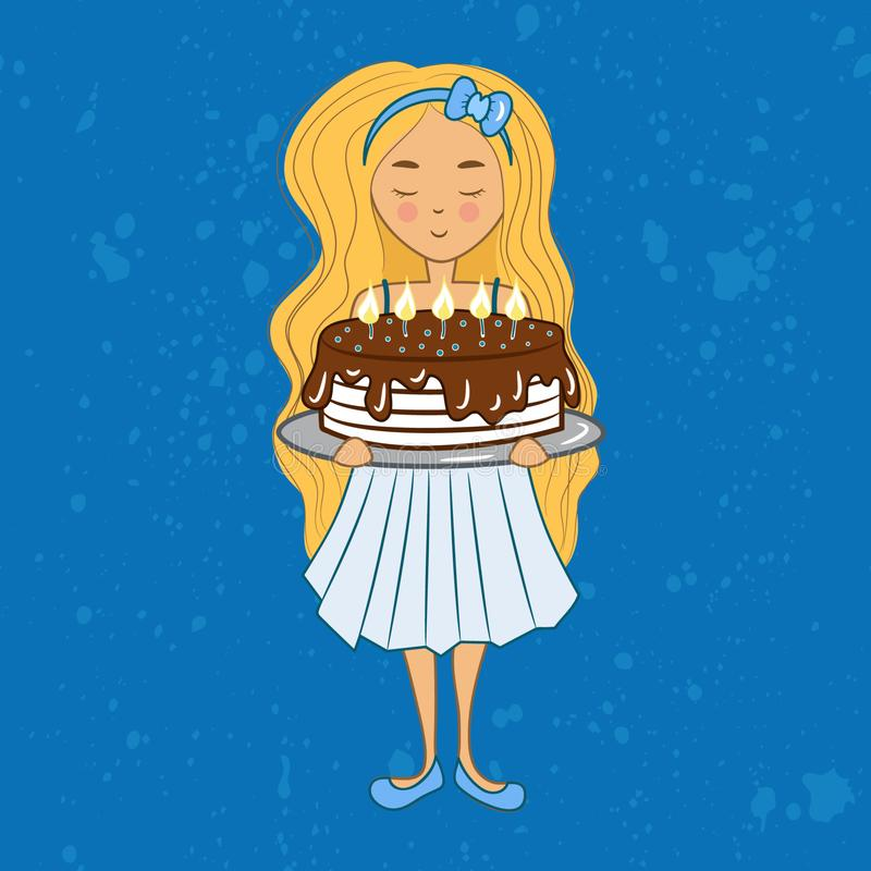 Little blonde birthday girl with chocolate cake stock illustration