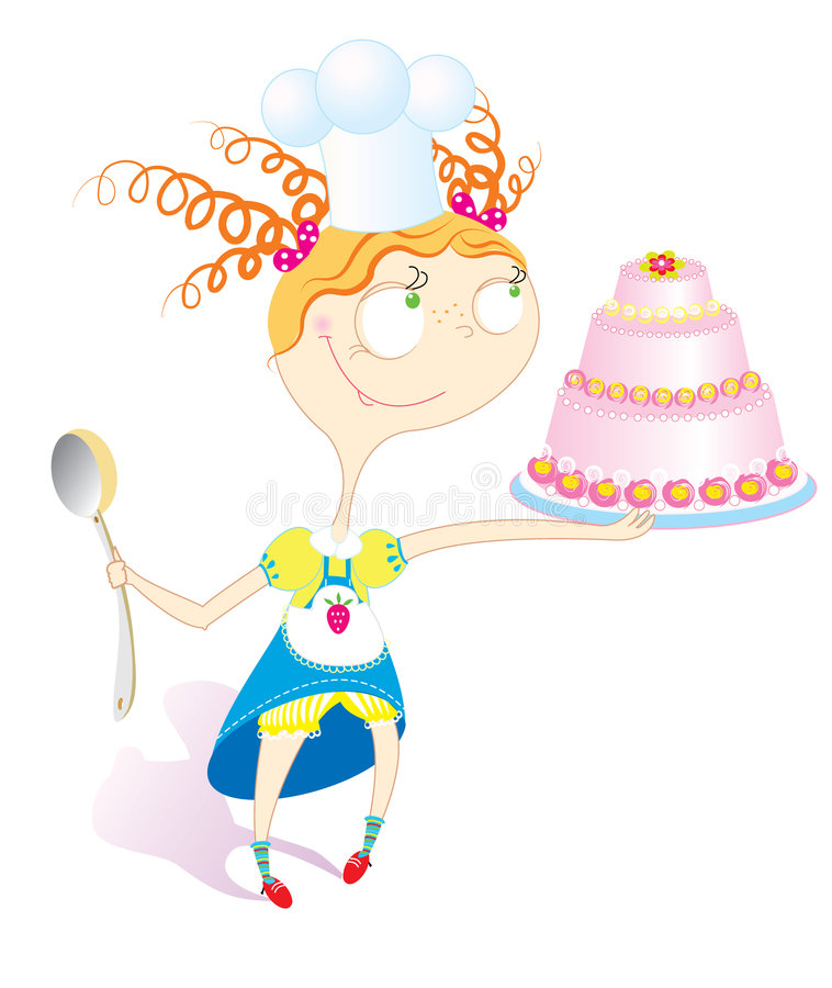 Girl and cake royalty free stock photos