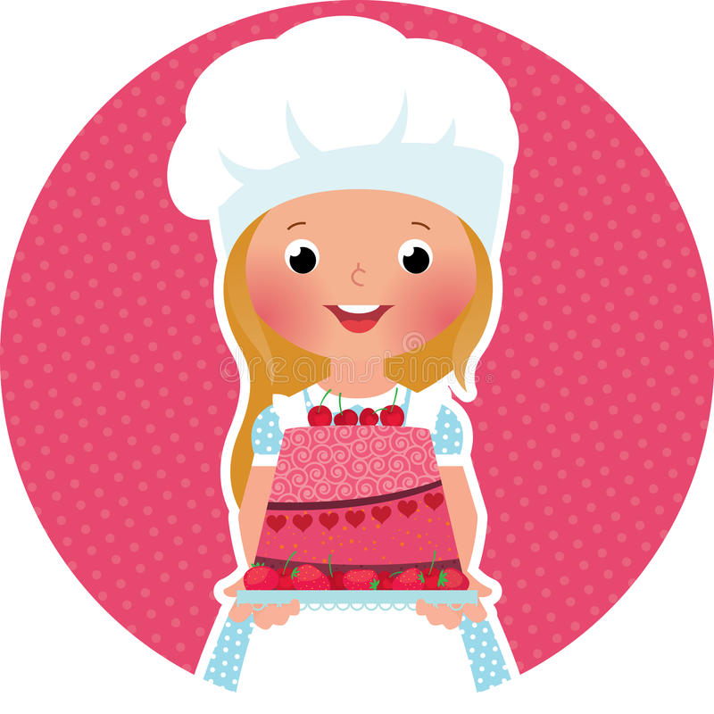 Girl with cake baker royalty free illustration
