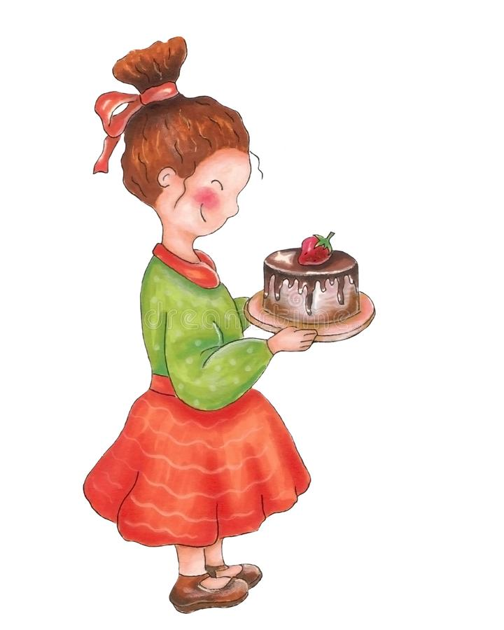 Girl with cake. Sweet girl with birthday cake, hand drawing vector illustration