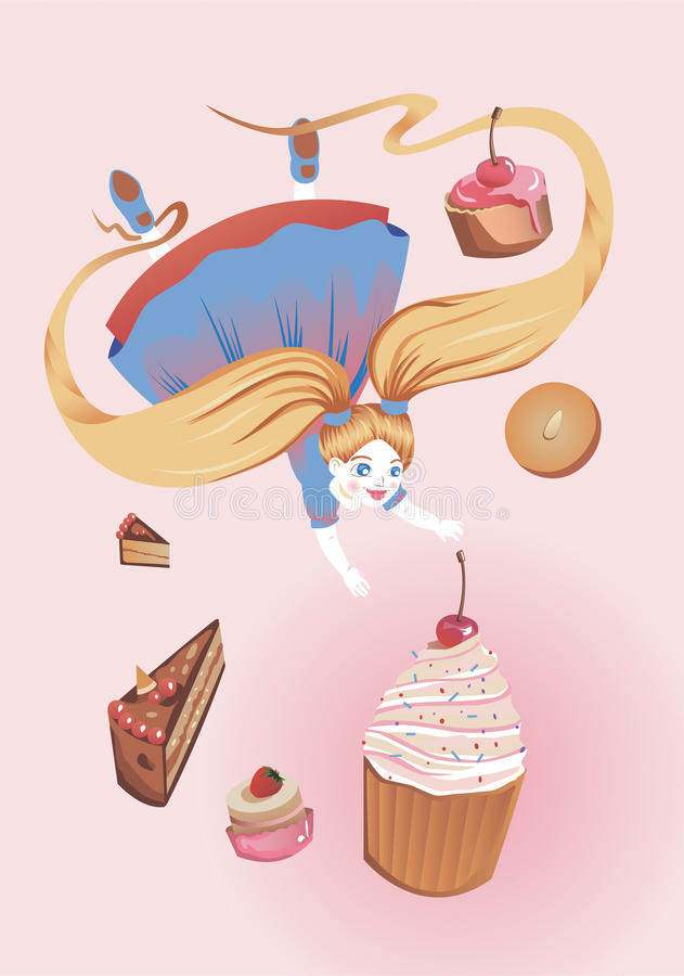 Download Girl with cakes stock vector. Image of tastefully, girl - 22509887