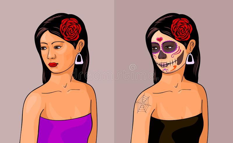 Girl with calavera makeup. Girl with and without calavera makeup. Day of the Dead, Dia de los Muertos concept stock illustration