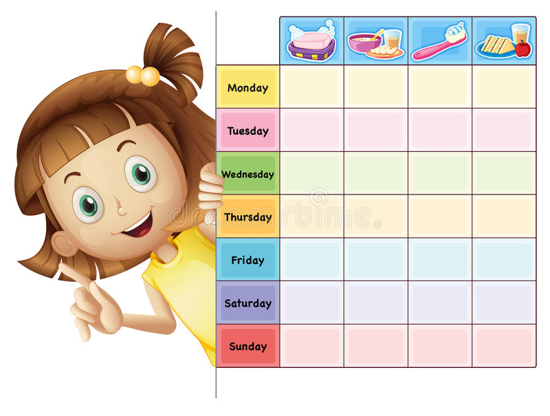 A girl and a calender. Illustration of a girl and a calender on a white background vector illustration