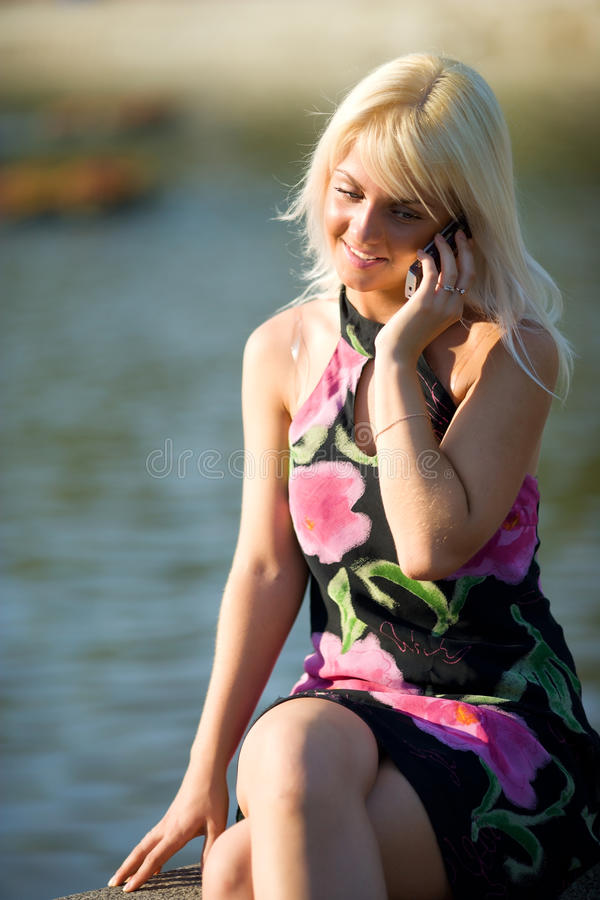 Download Girl calling stock photo. Image of relaxation, happy - 13523412