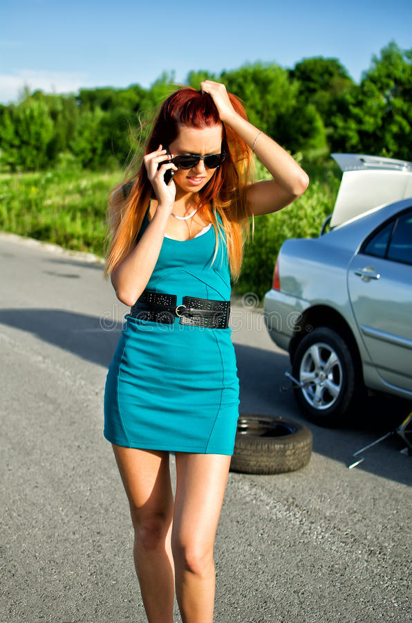 Free Girl Calling To Car Service Stock Image - 25406811