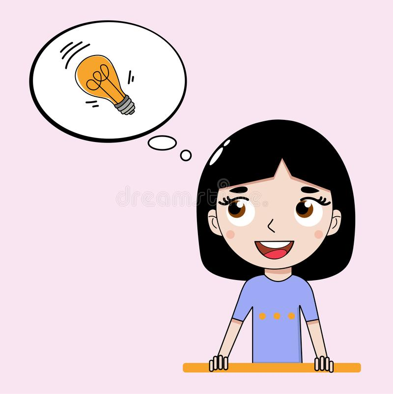 The girl came up with an interesting idea, expressed in the form of a light bulb. Vector graphics. stock illustration