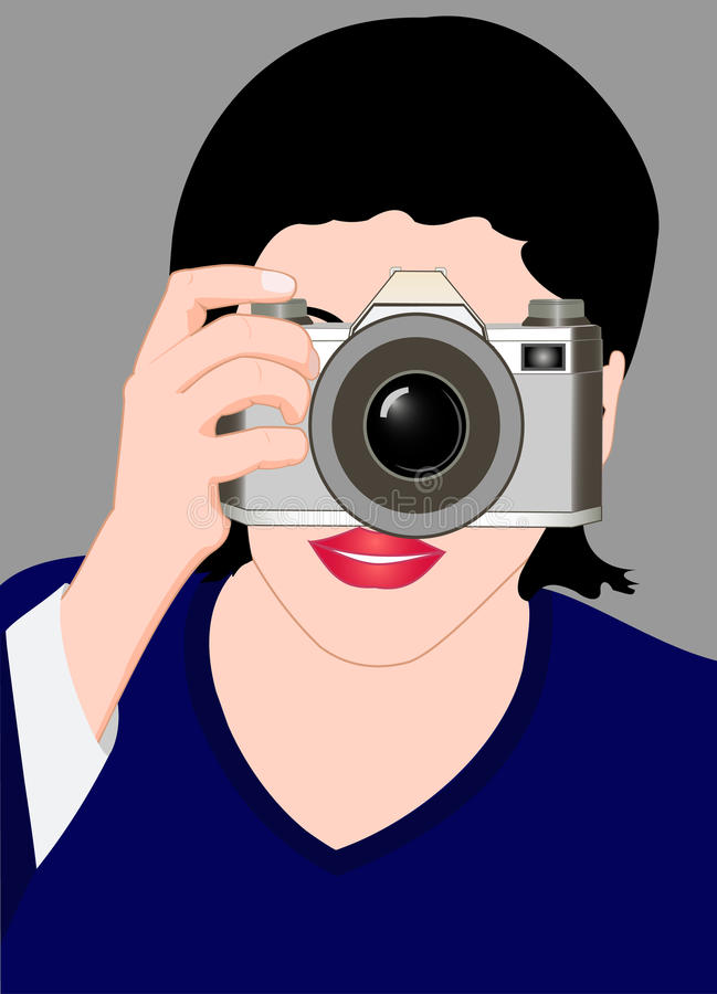 Download The girl with a camera stock vector. Image of fashion - 19101604