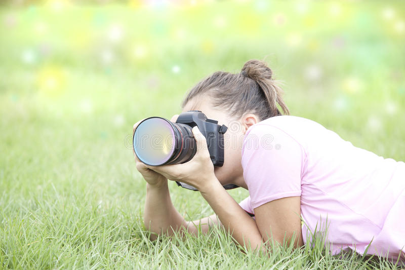 Download The girl with the camera stock photo. Image of lovely - 27515760