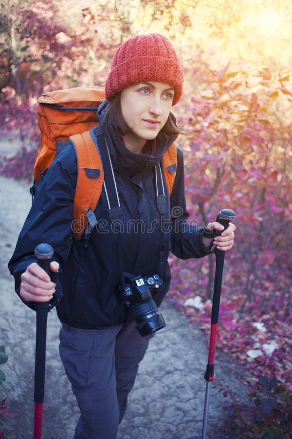 A girl with a camera and a backpack. The girl with the camera and the backpack goes on the trail in a beautiful forest royalty free stock image