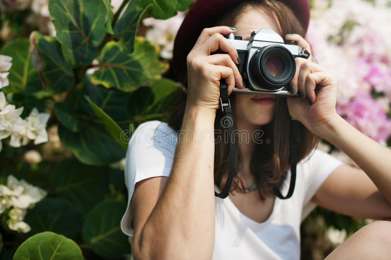 Girl Camera Photographer Focus Shooting Nature Concept royalty free stock images