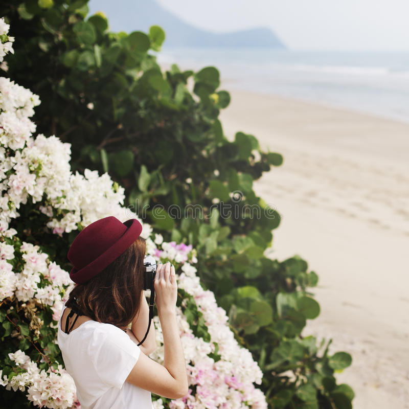 Girl Camera Photographer Focus Shooting Nature Concept stock photos