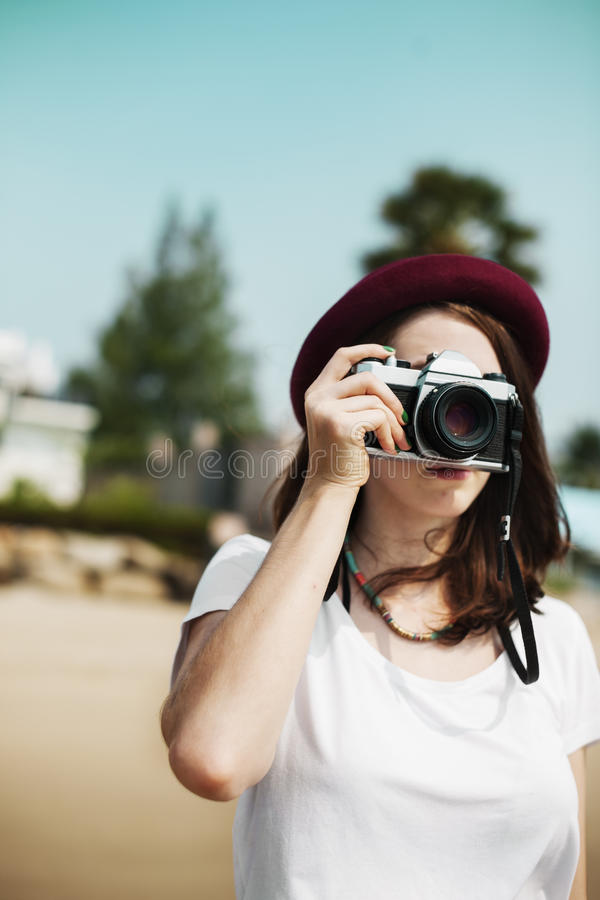 Girl Camera Photographer Focus Shooting Nature Concept royalty free stock photos